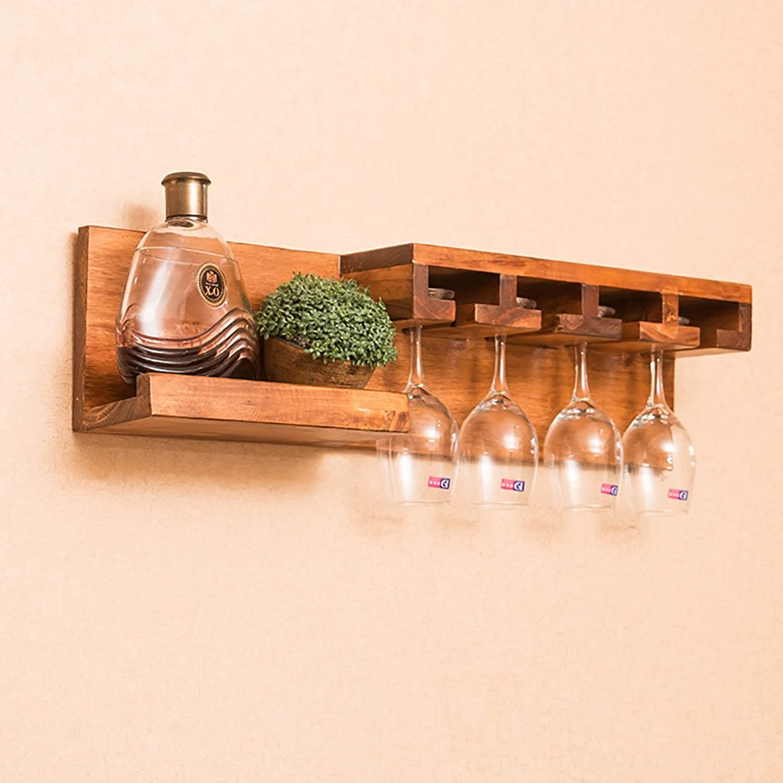 JJJJD Solid Wood Wine Rack Cup Holder, Modern Minimalist Living Room Dining Room Wall Racks (Size   B)