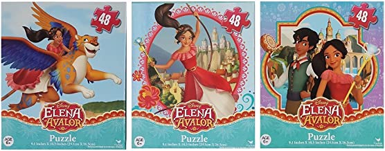 Bundle Set of 3 Princess Elena of Avalor Jigsaw Puzzles (48 Pieces each) with Skylar and Mateo - Disney Junior