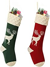 Owlgift Christmas Stockings,Big Size 2 Pack 18-Inch Extra Long Hand-Knitted Red/Green Reindeer Snowflakes Xmas Character f...