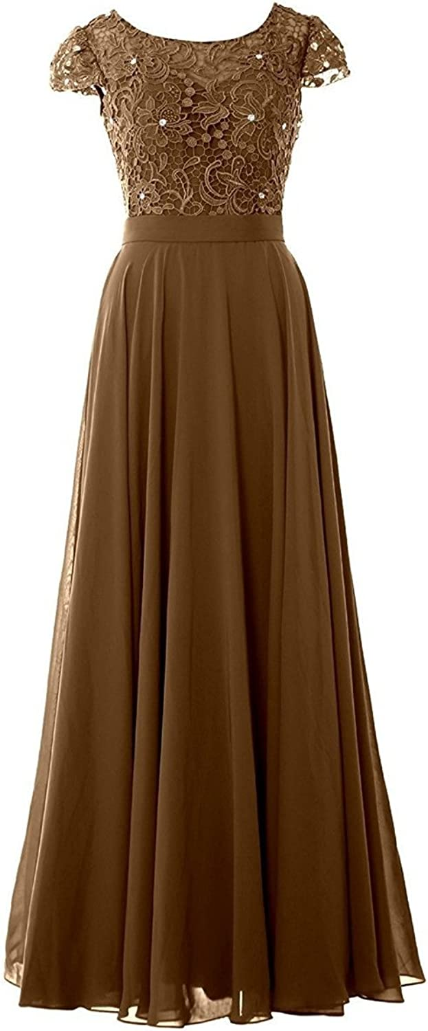 JudyBridal Women Cap Sleeves Bridesmaid Dress Lace Long Evening Formal Gown