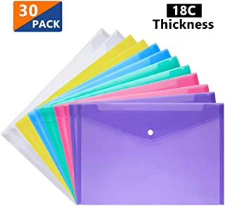 Plastic Wallets - A4 Folders Wallets Plastic Document Files Popper Wallets with Pocket 6 Color Mixed