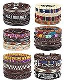 FIBO STEEL 28-30 Pcs Braided Leather Bracelets for Men Women Cool Hemp Tribal Wristbands Cuff Punk Bracelets