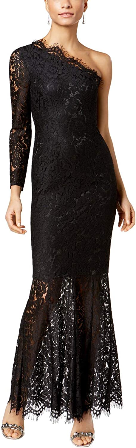 Fame And Partners Womens Lace OneShoulder Evening Dress
