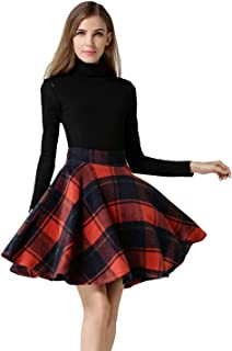 Women's Casual High Waisted Wool Check Print Plaid A-Line...