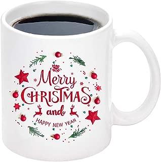 Christmas Coffee Mug with Merry Christmas and Happy New Year Reindeer White Ceramic Coffee Mug Cup for Christmas Holiday Gifts 11 Ounce
