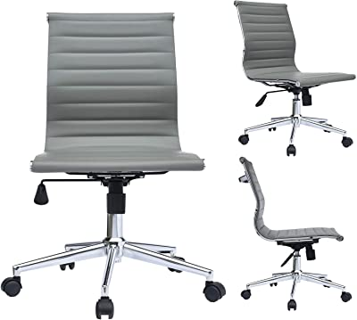 2xhome Grey Modern Mid Back Office Chair Armless Ribbed PU Leather Swivel Tilt Adjustable Office Chair