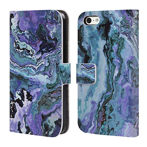 Head Case Designs Oficial Haroulita Violeta índigo Mármol 2 Carcasa de Cuero Tipo Libro Compatible con Apple iPhone 5c