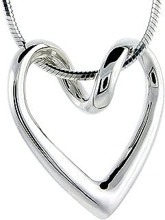 silver heart pendant large
