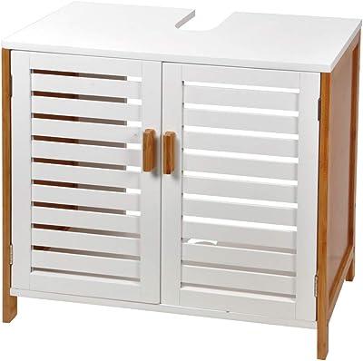MaisonMaligne Mueble Lavabo Madera Bambú y MDF – Mueble Baño Auxiliar con 2 Puertas Ideal para