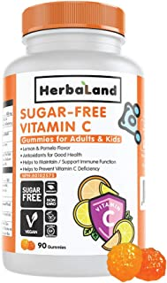 Vegan Sugar-Free Vitamin C Supplement for Adults and Kids by Herbaland - Plant-Based Vitamin Gummies to Support Immune Fun...