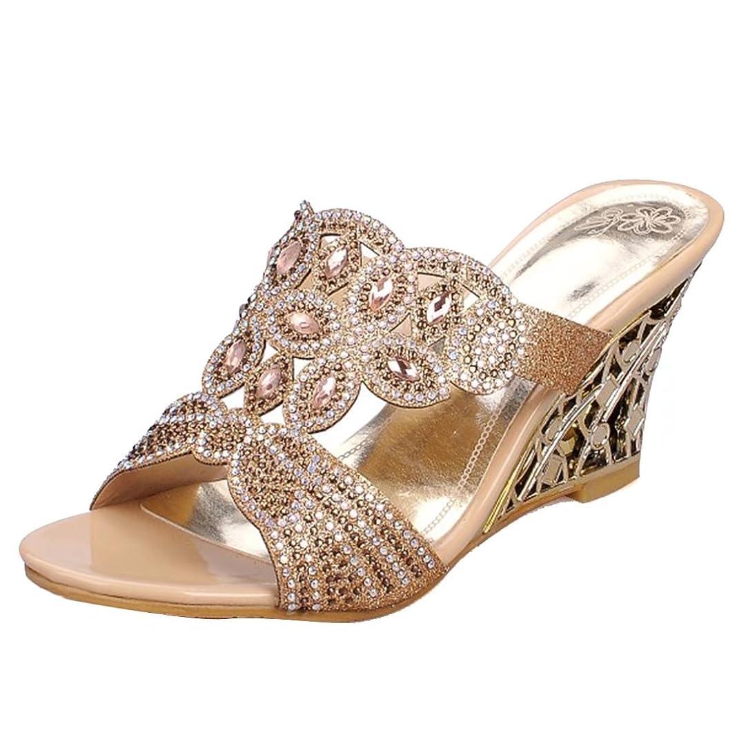 波保育園災難AIYOUMEIウェッジサンダル レディース 歩きやすい 疲れないオーペントゥグリッターキラキラサンダル婦人靴 歩きやすいコンフォートハイヒール通勤靴