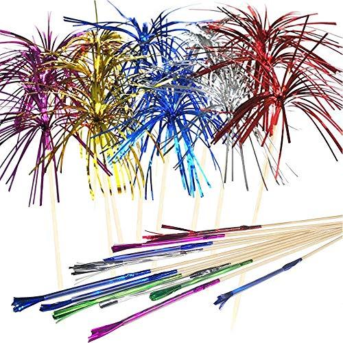 A 100 Stück Cocktail Picks Feuerwerk Sticks, Bunte Frucht Zahnstocher, Palme Cocktail Picks, Dekoration für Cupcake Getränke Obst Dessert Canapes Topper, Geburtstag Hochzeitsfeier Lieferungen