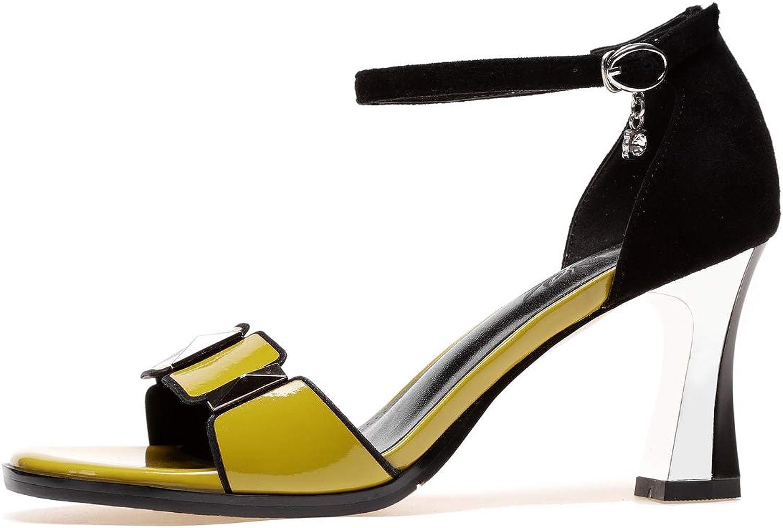 ZMHOME Sommer Neu Offener Zeh Sandalen Damen High-heel Blockabsatz Fesselriemen Schnalle Damen Leder Sandalen