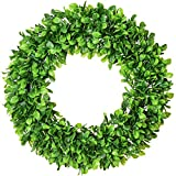 """Lvydec Artificial Green Leaves Wreath - 20"""" Large Boxwood Wreath for Front Door Wall Window Farmhouse Decoration"""