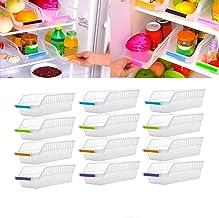 GEZRIL Fridge Storage Basket Shelf Organizer Rack Space Saver Food Storage Refrigerator Drawer for Home and Kitchen (Transparent) (12)