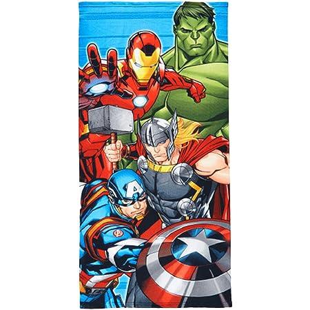 Telo Mare Asciugamano da spiaggia e piscina in microfibra CM. 140X70 asciugatura rapida, ultra morbido (Avengers Marvel Hulk Thor)