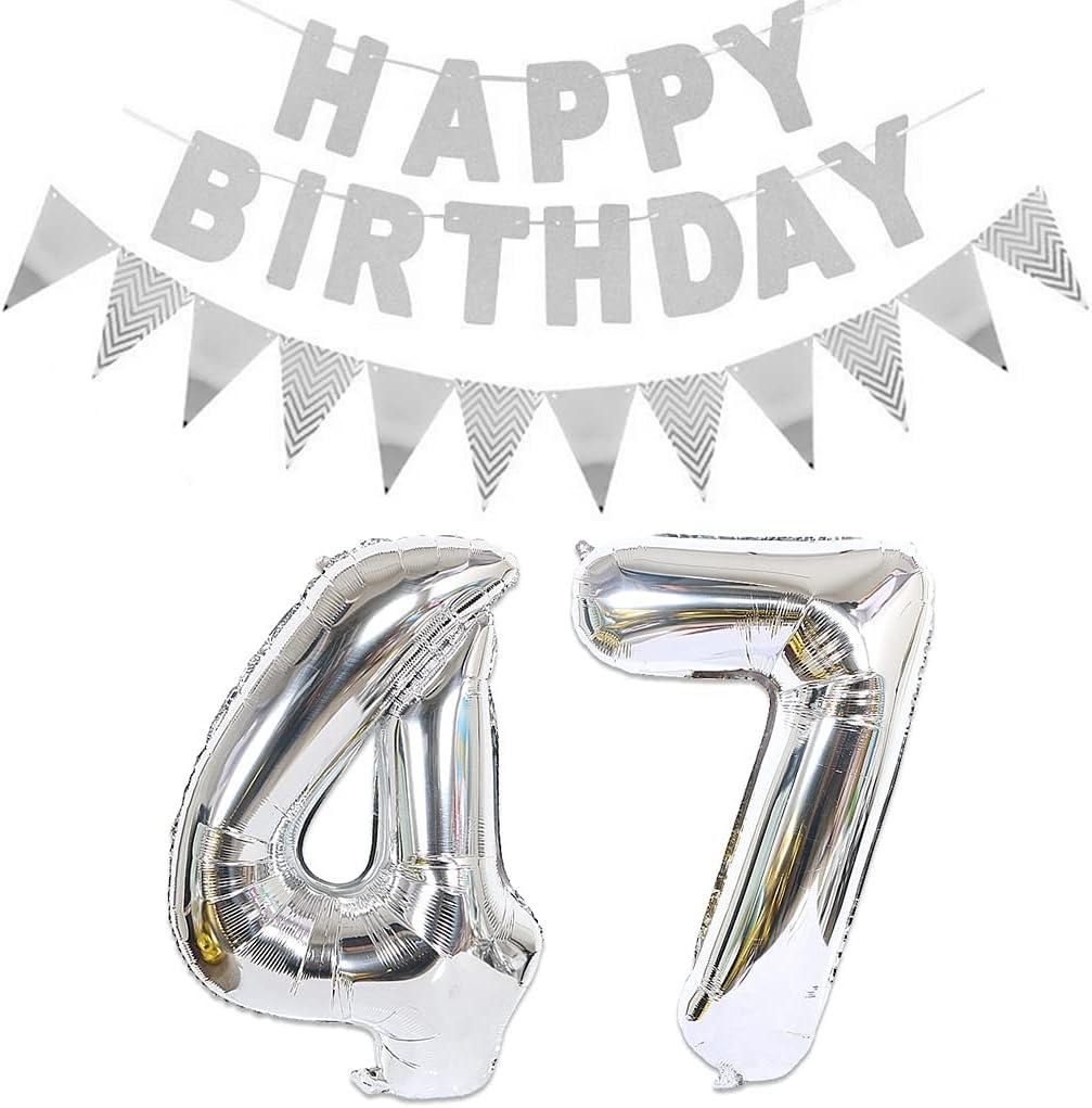 2 globos con el número 47 plateados + guirnalda de feliz cumpleaños + guirnalda plateada para 47 cumpleaños, decoración para hombres y mujeres, 47 años