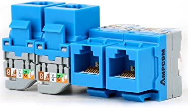 AMPCOM 10-Pack CAT5e RJ45 Tool-Less Keystone Jack, No Punch Down Tool Required UTP Module Connector Blue