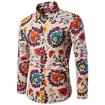 Shybuy Mens Shirt, Hot Sale Stylish Slim Fit Button Down Long Sleeve Floral Shirt
