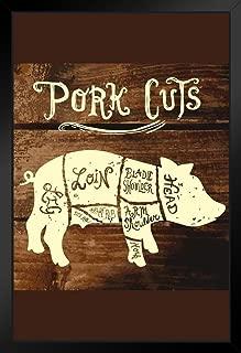 Vintage Pork Cuts on Wooden Background Butcher Shop Diagram Black Wood Framed Art Poster 14x20