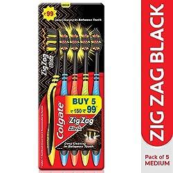Colgate ZigZag Black Medium Bristle Toothbrush - 5 Pcs
