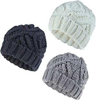 DANMY Soft Warm Rhombus Beanie Hats for Women & Men,Headwear Stretch Cable Knit Beanies Style Caps