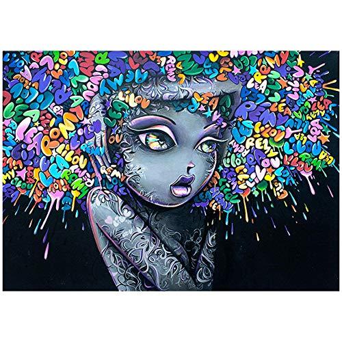 MIAO. Graffiti Art Canvas Schilderij Pop Art Poster Beeld Exploderende Hoofd Meisje in Muur Kunst Schilderen op Canvas Print Muurdecoratie, Geen Frame