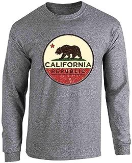 California Republic Flag Bear Retro Full Long Sleeve Tee T-Shirt