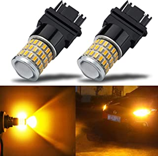 iBrightstar Newest 9-30V Super Bright Low Power 3156 3157 3057 4157 LED Bulbs with Projector Replacement for Turn Signal Lights,Amber Yellow