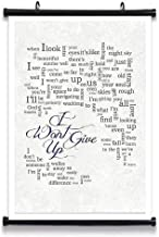 GEHUA06 I Wont Give Up Lyrics Poster Print Lyric Quote Wall Art Canvas Home Artwork Decoration Framed 14x12in