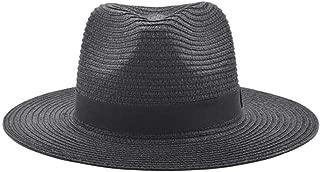 Unisex Summer Straw Hat, Flodable Panama Trilby Fedora Beach Jazz Sunshade Hat Gangster Cap