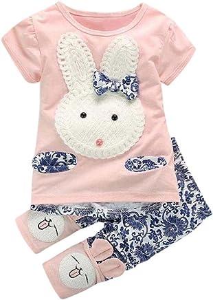 4c08b28cc72 Napoo Clearance Baby Girls Short Sleeve Cute Rabbits T-Shirt Tops +Floral  Print Pants