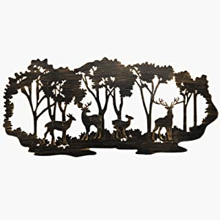 Juegoal Metal Wall Art-Deer in the Forest Wall Decor Hanging for Living Room, Bedroom,..