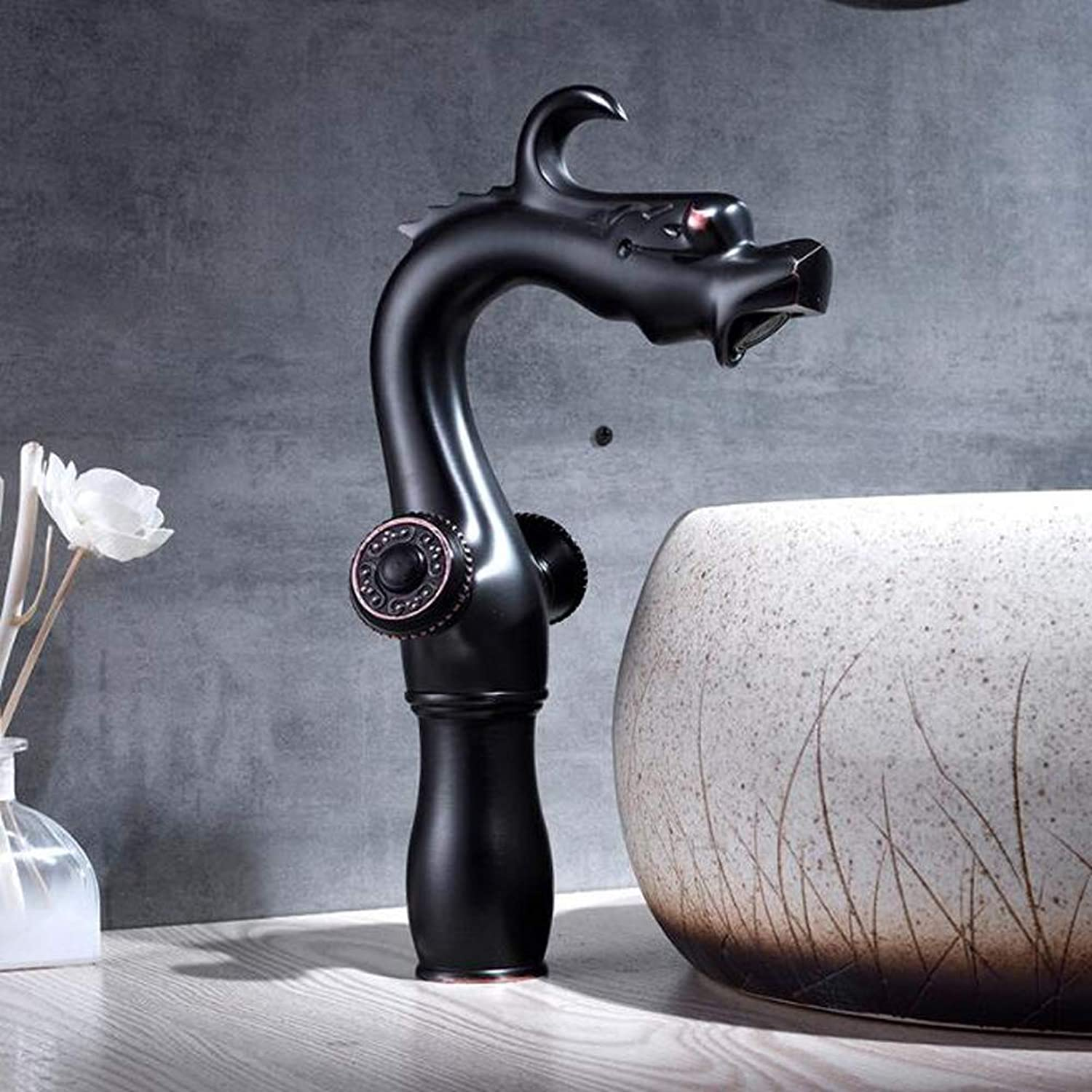 Bathroom Kitchen Sink Faucet,Black Paint Full Copper No Lead Creative Retro Bathroom Counter Basin Faucet Bathroom Sink Hot Cold Mixer Tap,BlackFaucet,Short,High