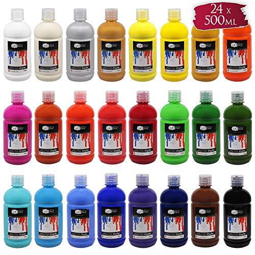 Artina Crylic Set de 24 Colores acrílicos Pintura acrílica para Artistas - niños y Adultos - 500 ml