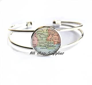 Charming Bracelet,Louisiana map Bracelets, Louisiana map Bracelet Louisiana Bracelets Louisiana state map jewelry ,AO235