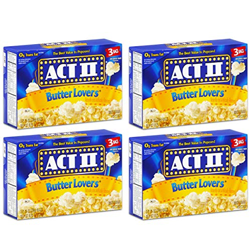 Act II Butter Lovers Microwave Popcorn 4 Boxes of 3 (12 Bags Total)