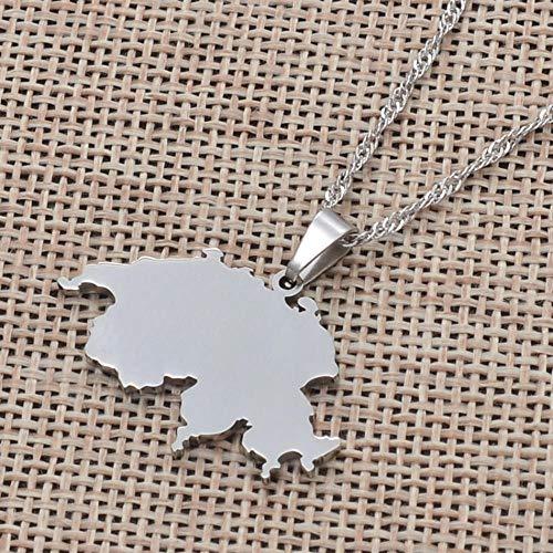 XZZZBXL Map Necklace for Women,Schweiz Karte Anhänger Halsketten Mode Persönlichkeit Für Frauen Mädchen Farbe: Silber Kette Charme Land Karten Schmuck 45 cm (18 Zoll)-Thin_Kette