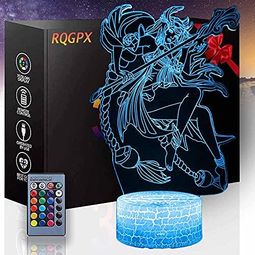 Anime noche luz 3D ilusión lámpara LED Nightlight 16 colores LED luces con interruptor táctil para niños regalos decoración dormitorio