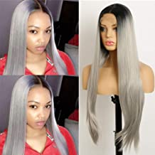 Ombre Straight Glueless Lace Front Wigs for Women Heat Resistant Fiber Synthetic Wigs with Natural Hairline Dark Roots to Gray 28 inch 1B/Gray