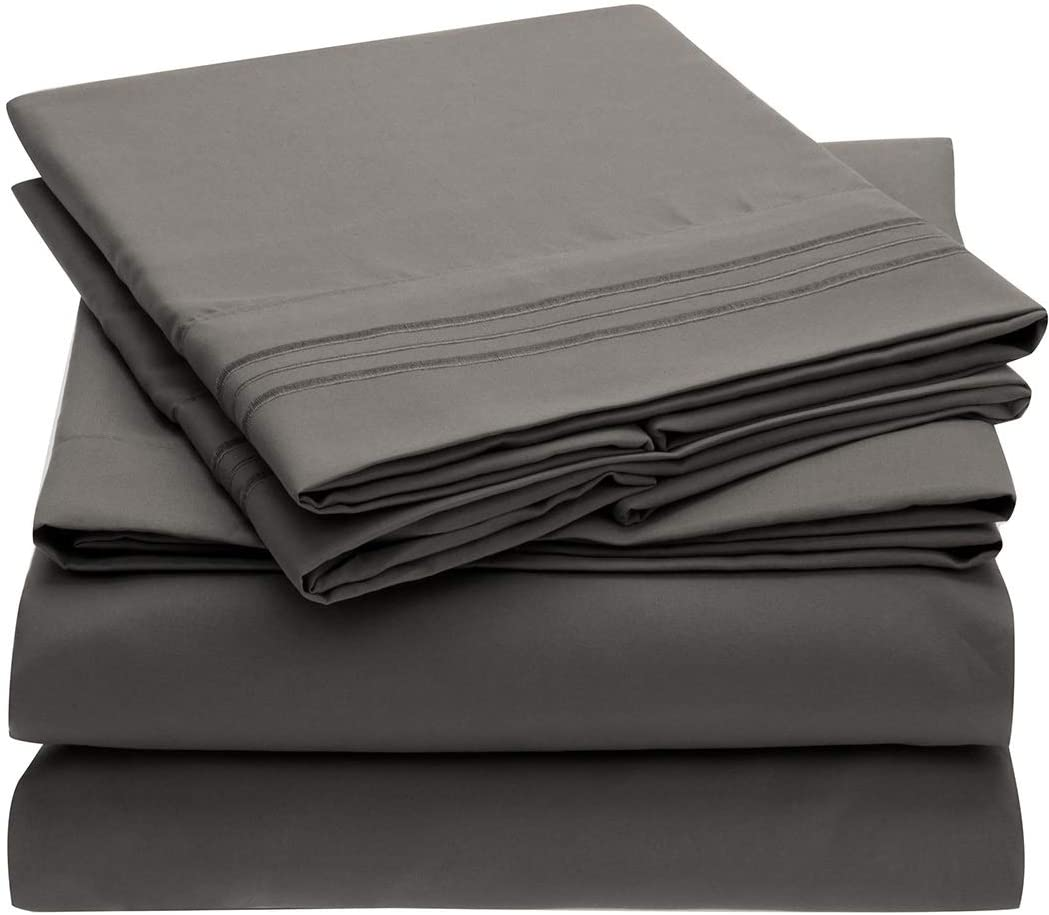 Mellanni Twin XL Sheet Set - Hotel Luxury 1800 Bedding Sheets & Pillowcases - Extra Soft Cooling Bed Sheets - Deep Pocket up to 16 inch - Fits College Dorm Room Mattress - 3 Piece (Twin XL, Gray) : Home & Kitchen