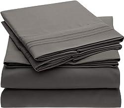 Mellanni Bed Sheet Set - Brushed Microfiber 1800 Bedding - Wrinkle, Fade, Stain Resistant - 5 Piece (Split King, Gray)