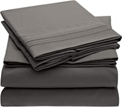Mellanni Bed Sheet Set Brushed Microfiber 1800 Bedding - Wrinkle, Fade, Stain Resistant - Hypoallergenic - 3 Piece (Twin, Gray)