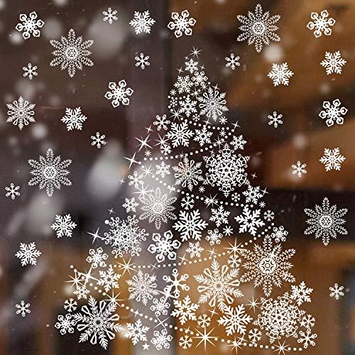 Pegatina Ventana Árbol Navidad Pegatina Ventana del Copo de Nieve de Navidad Adhesivos Decoración de Estrella de...