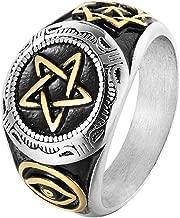 SAINTHERO Men's Vintage Stainless Steel Round Signet Hexagram Rings Jewish Star of David Masonic Eye Biker Rings Size 8-12