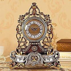 UWY Mantel Clocks, European Clock Creative Mute Clock Personality Sitting Clock Living Room Big Pendulum Quartz Decorative Table Clock (28 22 12.5cm) Mantel Clocks,C