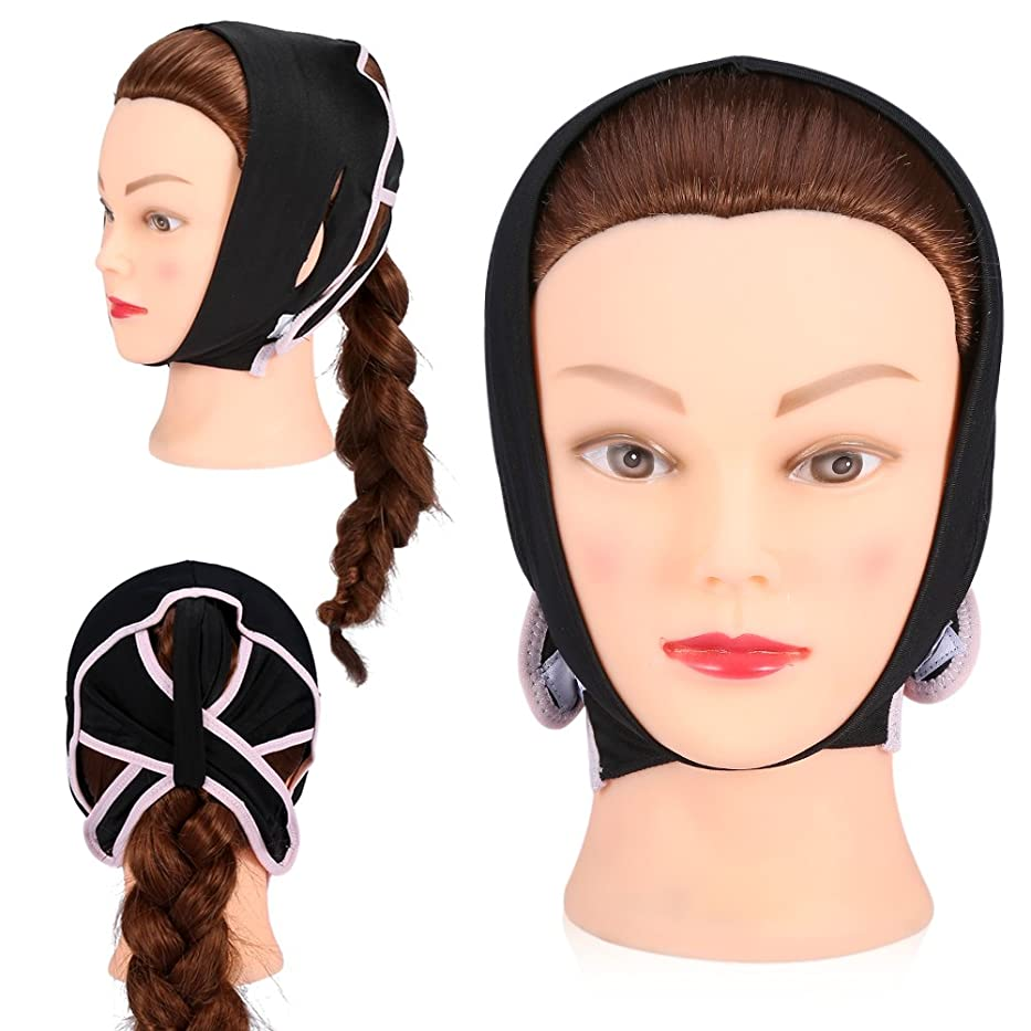 平和的チャーミング準備ができて顔 輪郭 改善 Vフェイス 美容包帯 首 頬 あご引き締めます(M)