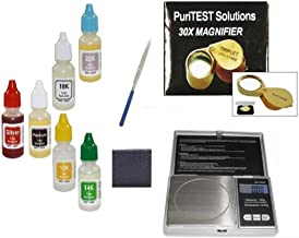 Pro Bullion Testing Kit with Coin Scale, Acid Solutions, Jewelers Loupe, Scratch Stone, and Needle File
