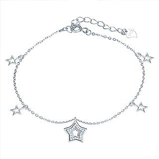 Yumilok - Cavigliera da donna con ciondolo a forma di stella, in argento Sterling 925, con catenina da spiaggia e sandali,...