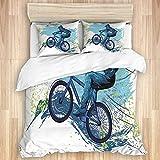 ETDWA Ropa de Cama Juego de Funda nórdica, Bicicleta BMX de Sportsman Cycling Extreme Bike, Juego de Funda nórdica de Microfibra 135x200cm con 2 Fundas de Almohada 50X80cm